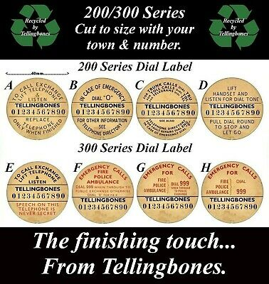 ☎️ Gpo 200/300 Series Telephone Rotary Dial Labels With Your Town & Number ☎️