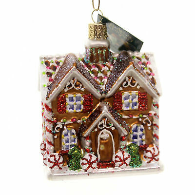 Old World Christmas CHRISTMASTIME COTTAGE Glass Ornament Home Peppermint 20075