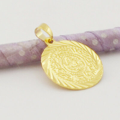 14K Yellow Gold Filled  Unisex  Coin Shape  Good Bless  Pendant  Free Ship