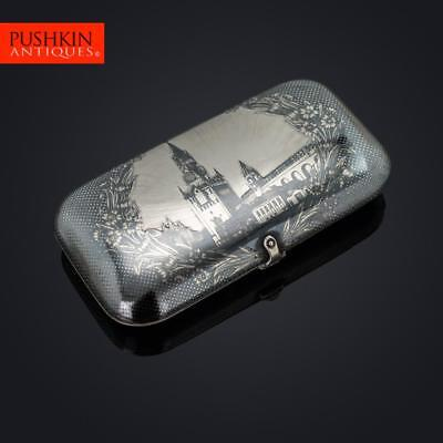 ANTIQUE 19thC RUSSIAN SOLID SILVER & NIELLO CIGARETTE CASE, MOSCOW c.1880