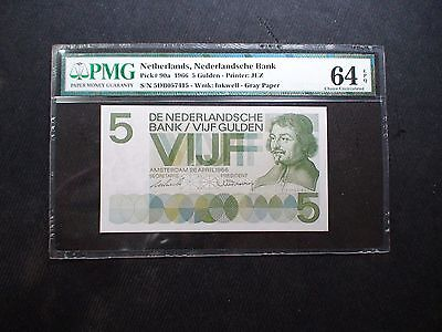 1966 Netherlands Bank Five Gulden PMG CU 64 EPQ 5G Banknote PRICED TO SELL NOW!