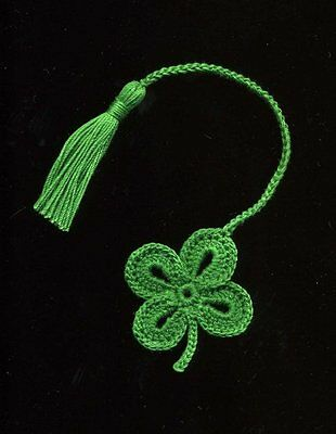 Handmade crochet bookmark 4 LEAF CLOVER shamrock St. Patrick's Day  bookmarks