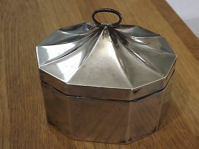 Interesting Antique Solid Sterling Silver Walker & Hall Tea Caddy - Dates C1913