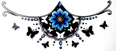 Chest Tattoo, Blue Butterfly Henna Tattoo, Under The Breast Temporary Tattoo,