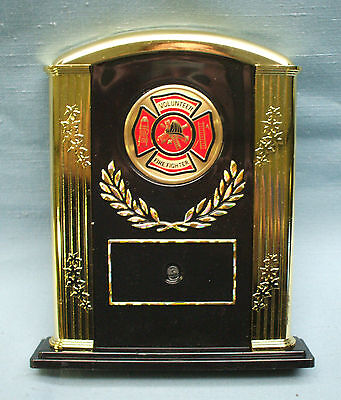 volunteer FIRE DEPARTMENT  trophy award red insert gold trim