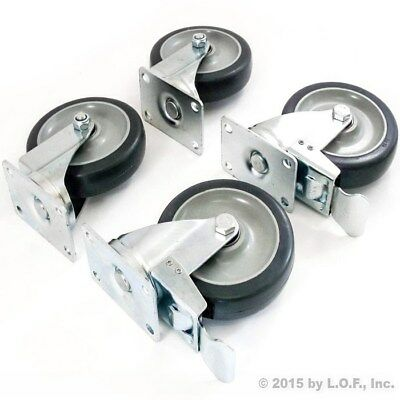 "Set of 4 Swivel Plate Casters with 5"" Polyurethane Wheels & 2 with Brakes Base"