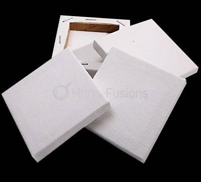 SET OF 4 CRAFTMANIA ARTISTS SQUARE BLANK CANVAS WHITE STRETCHED CANVAS 20 x 20CM