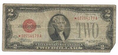 1928C  United States Red Seal STAR $2 Note Two Dollar
