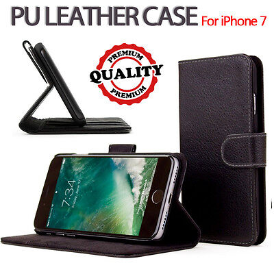 For Apple iPhone 7 Genuine Flip Wallet Leather Case Cover (B55