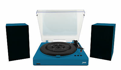 Jam Turntable Deck Record Player with 32w Stereo Speakers Bundle - Blue 3 Speed