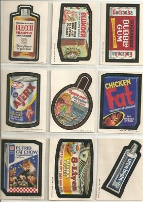 Vintage Lot of 9 Wacky Packages 2nd Series White Backs & Tan Backs 1058 - 1973