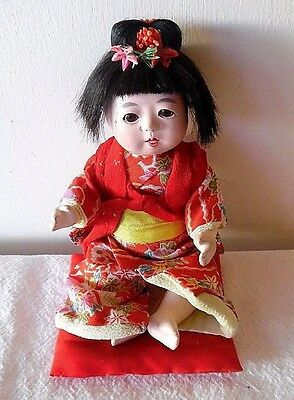 Mid Century  Bisque Jointed Japanese Geisha Sitting Doll Legs Arms Head Move