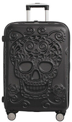 "IT Luggage Skulls 26"" Expandable Upright Spinner Suitcase - Black"