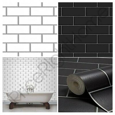 Fine Decor Subway Tile Effect Wallpaper Black White Available Feature Wall Decor