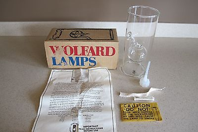 "Classic Wolfard handblown glass oil lamp 9"" with Wick USA New in Box"