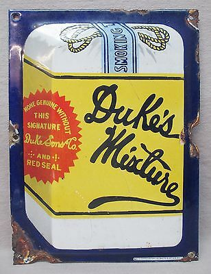 Dukes Mixture Embossed Porcelain Sign Door Push Tobacco, Balto Enamel & Nov. Co.