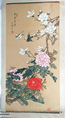 HAND-PAINTED HANGING SCROLL ART PAINTING ASIAN Silk & Paper Floral