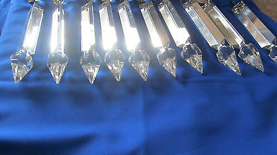 32 Vintage Cut Glass Crystal Prisms Spear Shaped  Chandelier Replacement Parts