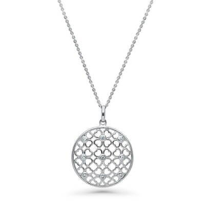BERRICLE Sterling Silver CZ Clover Medallion Fashion Pendant Necklace