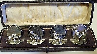 Rare Antique English Sterling Place Card Holders Game Birds Set of 4 Fabulous