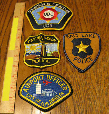 Lot of 4 Obsolete Police Patches LA Airport Utah Corrections Virginia Beach +1