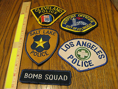 Lot of 5 Obsolete Police Patches Cleveland Los Angeles Traffic & Airport Bomb +