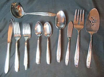 Oneida Vintage Stainless Roseanne Rose 34 Pieces Including 4 Serving Pieces