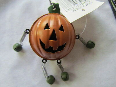 Jumping Jack Pumpkin Jingle Bells  ~ Halloween ~ Set 3 Novelty Bell Ornament NEW