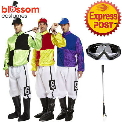 K389 Jockey Horse Rider Mens Uniform Fancy Dress Up Sports Melbourne Cup Costume