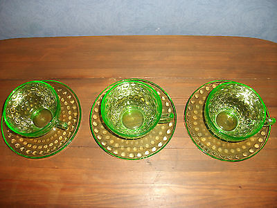 "Vtg. 3 Sets- Federal Depression ""Raindrops"" Green Vaseline Cups & Saucers"
