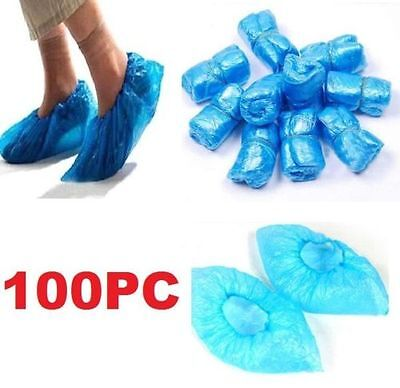 100PCs Home Disposable Medical Plastic Shoe Covers Cleaning Overshoe Covers ~