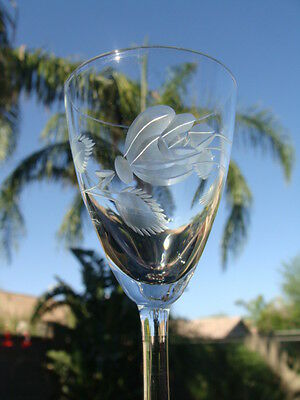 Tiffin 17664-3 Cut Crystal Etched Rose W/Leaves Design, 6 Cordial Liquor Glasses