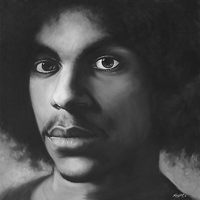 Prince Purple Rain Artwork Painting Stretched Canvas Rare Giclee Print