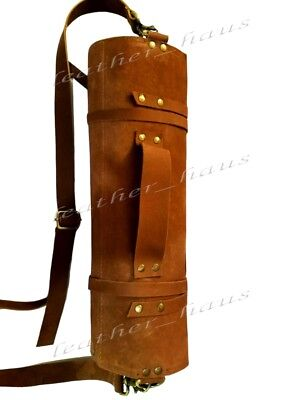 10 Pockets Vintage Tan Leather Lightweight Premium Leather Chef Knife Bag /Roll