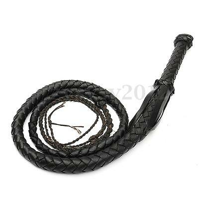 210cm Black Artificial Leather Bull Bullwhip Plait Riders Stockwhip Cow Whip UK