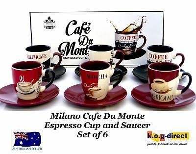 Milano Collection Set of 6 Cafe Du Monte Espresso Coffee Cups and Saucers
