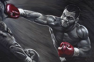 Mike Tyson Painting Boxing Artwork Signed Stretched Canvas Print