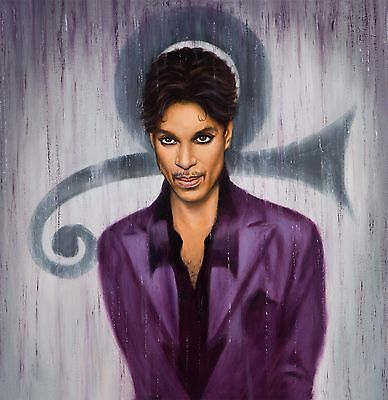 Prince Painting Purple Rain Artwork Signed Stretched Canvas Print