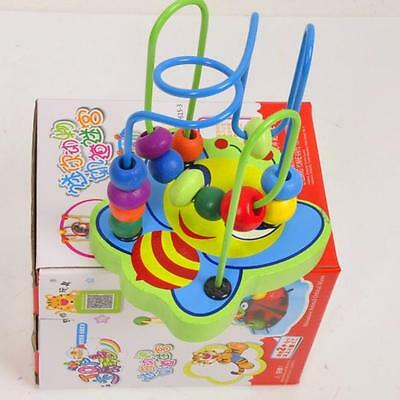 Kids Baby Colorful Wooden Mini Around Beads Educational Game Toys Nice Gifts