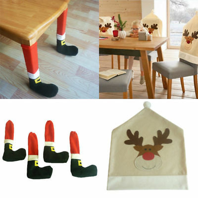 Christmas Elk Chair & Table Leg Covers Table Patry Kitchen Dinner Decoration
