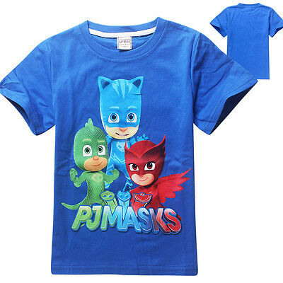 PJ Masks Cartoon Tee shirt Print Kids T-shirt - Catboy Gekko Owlette Boys Girls