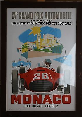Framed Repro Lithograph Monaco Racing Poster. Ramel 1957.