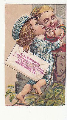 O A Simmons Pianos Organs Orguinettes Kissing Wilkes Barre PA Vict Card c1880s
