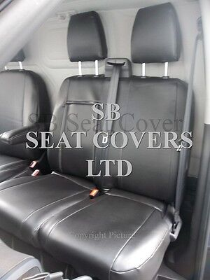To Fit Ford Transit , Tipper Van Seat Covers, Ebony Black Leatherette