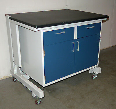"42"" Hamilton Laboratory Rolling Steel Table Cabinet Black Epoxy Lab Work Surface"