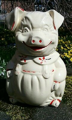 "Vintage Mid Century 11"" HAPPY PIG OVERALLS COOKIE JAR AB CO American Bisque USA"