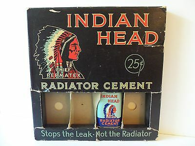 Vintage Gas Station Tin Can Display Stop Leaks Indian Chief Logo 1940s Sign