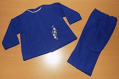 VINTAGE UNWORN 1970's GIRLS NAVY BLUE CRIMPLENE TOP & TROUSER SUIT AGE 12 MONTHS