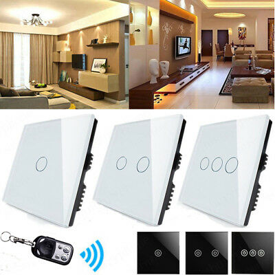 Wireless Crystal Glass Panel Smart Touch Wall Light Switch Remote 1/2/3 Gang