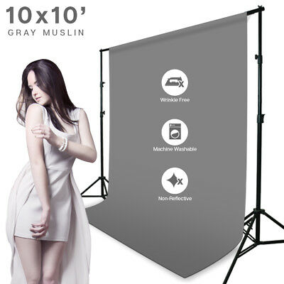 10 x 10ft Gray Muslin Backdrop Photography Background Photo Studio Winkle Free
